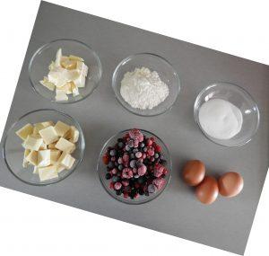 Brownie chocolat blanc fruits rouges_les ingredients