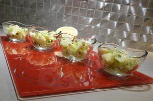 4 verrines de salade de tronc de brocoli