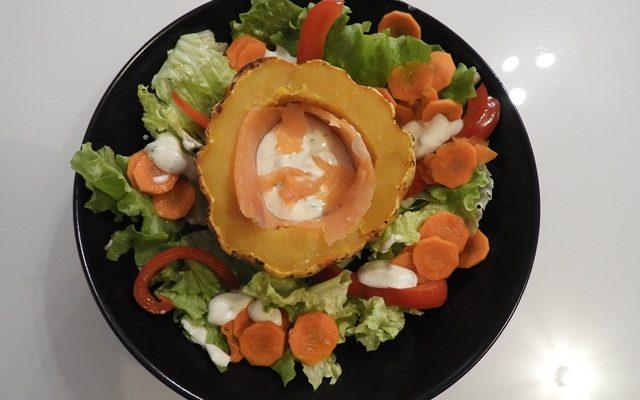 Patidoux farcis à la truite et salade tiède