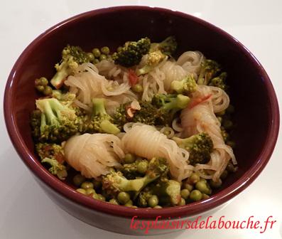 Assiette de konjac brocolis petits pois
